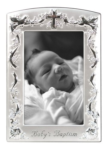 Malden Baby Baptism Two-Tone, 4 x 6 inch Picture Frame, Pewter
