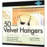 Closet Complete Ultra Thin No Slip Velvet Hangers for Shirts and Dresses, Camel, Set of 50 ~ Closet Complete