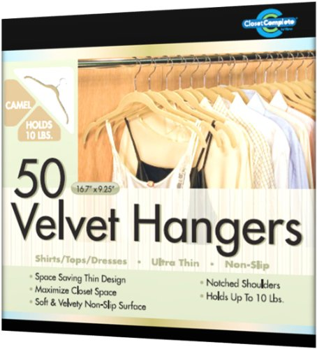 Closet Complete Ultra Thin No Slip Velvet Hangers for Shirts and Dresses, Camel, Set of 50