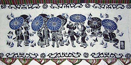 "Batik Folk Art Painting 17x44"" Miao Hmong Artist #440"