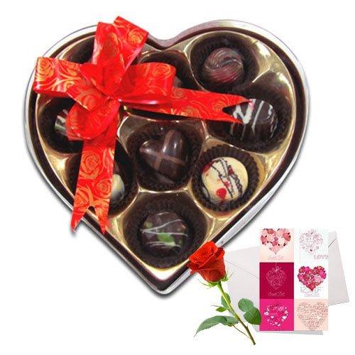 Gracious Love Chocolates With Love Card And Rose - Chocholik Belgium Chocolates
