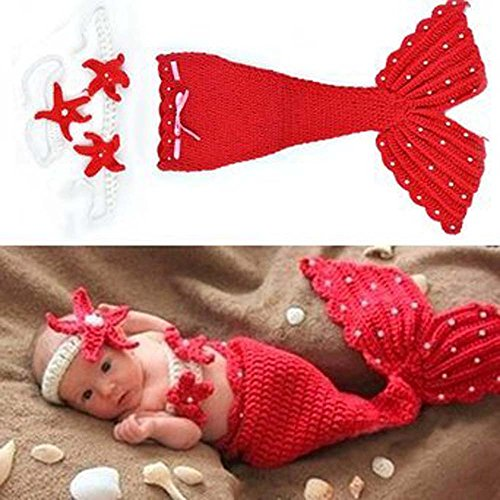 Jastore®rot Meerjungfrau Infant baby Kostüm Fotografie Hut Set Handarbeit Häkelarbeit