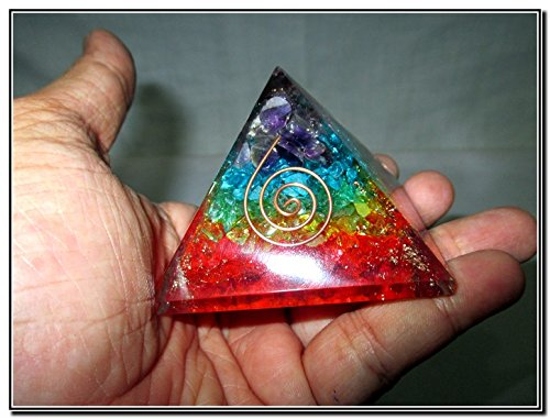 New Chakra Orgone Pyramid Crystal Gemstones Copper Metal Mix Rare Healing Positive Energy Tetrahedron Sacred Geometry Memory Concentration Meditation Spiritual Psychic Piezo Electric Effect Business Prosperity Success Destress Anxiety Disorder Love
