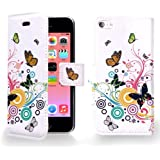 Juju Village Rainbow Butterfly Swirl PU Leather Wallet Case Cover Skin For Apple iPhone 5C With Screen Protector