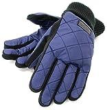 (アスリートワールド) ATHLETEWORLD 手袋 メンズ グローブ スマホ対応 スマートフォン対応 キルティング 裏フリース ニットリブ 3color Free ネイビー