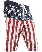USA American Flag Distressed Mens Boardshorts