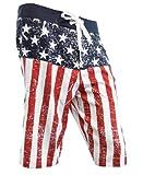 USA American Flag Distressed Mens Boardshorts (Adult Medium)