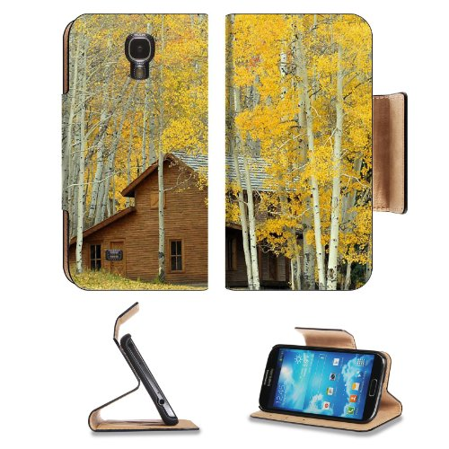 Log Cabin Among Trees Samsung Galaxy S4 Flip Cover Case With Card Holder Customized Made To Order Support Ready Premium Deluxe Pu Leather 5 1/2 Inch (140Mm) X 3 1/4 Inch (80Mm) X 9/16 Inch (14Mm) Msd S Iv S 4 Professional Cases Accessories Open Camera Hea