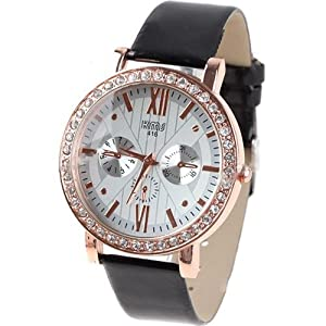 Quartz PU Leather Wrist Watch Analog Watch Timepiece with Rhinestones & 3 Sub-Dials Decor for Woman Lady - Black SWWM1-58497