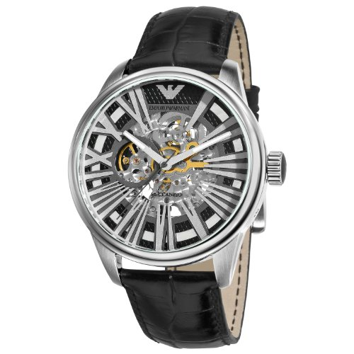Emporio Armani Men's AR4629 Meccanico Black Skeleton Dial Watch