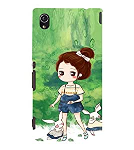 EPICCASE Gorgeous Girl and Rabbit Mobile Back Case Cover For Sony Xperia M4 Aqua Dual (Designer Case)