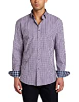 Stone Rose Men's Button Down Woven Front Squared Seams Dress Shirt