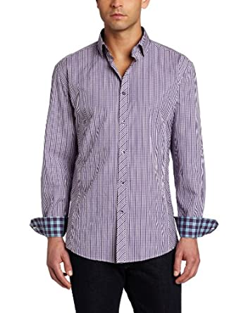 Stone Rose Men's Button Down Woven Front Squared Seams Dress Shirt, Purple Zipper Gingham, 2