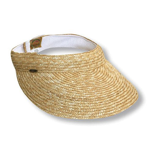 Multi tone polybraid sun visor. Natural straw color trim and accent stripe on band. Removable sweatband. 4