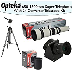 Opteka 650-1300mm HD Telephoto Zoom Lens + Lens Converter To Telescope + 2X Teleconverter Kit + Opteka 70