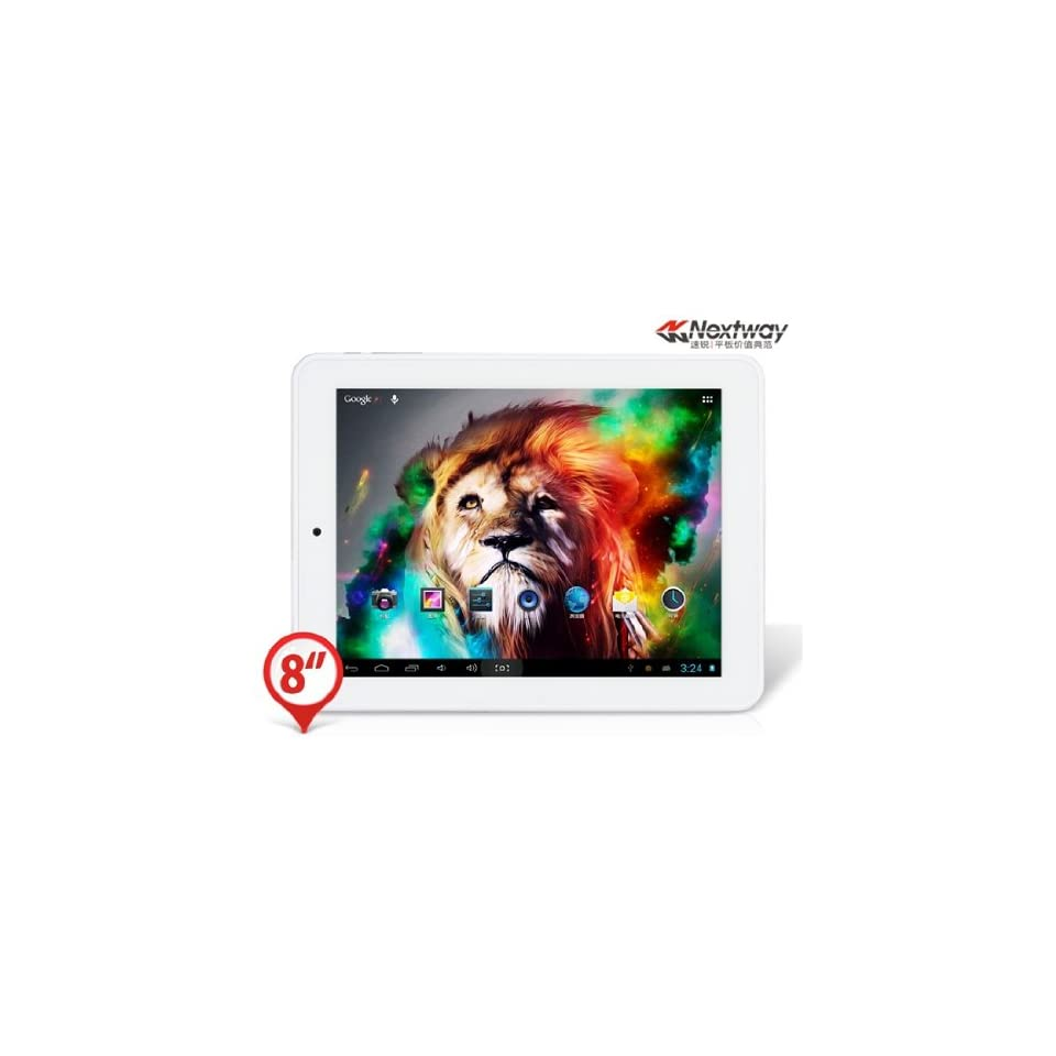 AmazeOffer® Nextway F8X 8.0 5 point Capacitive TFT Touch Screen 1024x768 Android 4.1.1 ATM7029 Quad core 1.0GHz Tablet PC with Wi Fi, HDMI Output (8GB) (White)