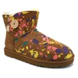 Ugg Australia Mini Bailey Button Paint Splatter 1000115 W PSCM Womens Suede Ankle Boots