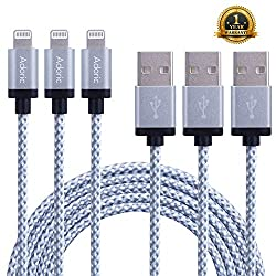 Adoric 3Pack 10FT/3M Extra Long Nylon Braided Lightning to USB Sync Charge Cable Cord Charger with Aluminum Connector for iPhone 6s/6s Plus/6/6Plus/5s/5c/5, iPad/iPod Models (White)