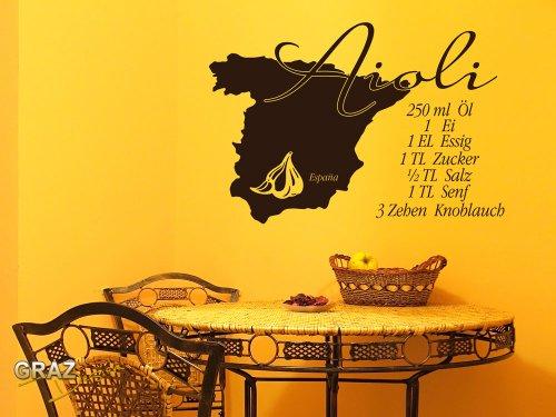 Sticker mural Tatouage mural autocollant mural recette Aioli espagnol (Hauteur=84x57cm//Couleur=092 cuivre)