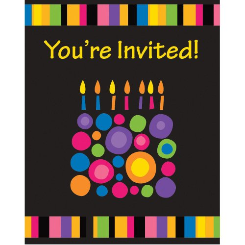 Birthday Cake Dots Invitations (8ct)