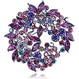 Beautiful Fuchsia Violet Purple Crystal Rhinestone Wreath Floral Leaf Pin Brooch