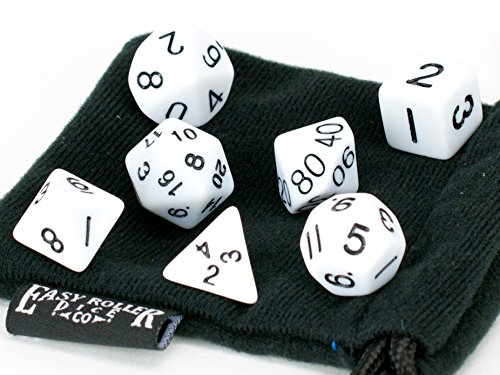 White Opaque (solid) Polyhedral Dice Set | 7 Piece | PRISTINE Edition | FREE Carrying Bag | Hand Checked Quality | Money Back Guarantee - 1