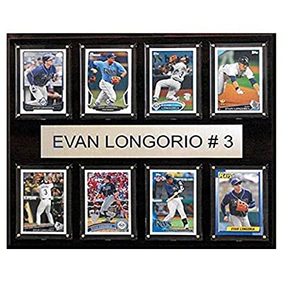C and I Collectables MLB 15W x 12H in. Evan Longoria Tampa Bay Rays 8 Card Plaque