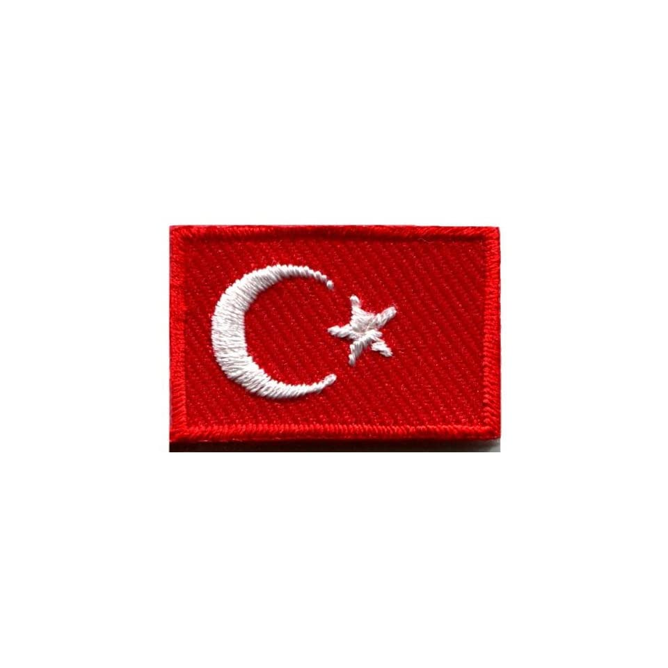Flag of Turkey Turkish Star Crescent Moon Applique Iron on Patch Small S 643 Handmade Design From Thailand