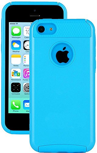 Mylife (Tm) Bright Sky Blue Style 2 Layer (Hybrid Flex Gel) Grip Case For New Apple Iphone 5C Touch Phone (External Single Piece Full Body Defender Armor Rubberized Shell + Internal Gel Fit Silicone Flex Protector + Lifetime Waranty + Sealed Inside Mylife
