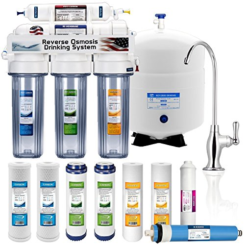 EXPRESS WATER - 5 Stage Home Drinking Reverse Osmosis System PLUS Extra Full Set- 4 Water Filter (CLEAR)