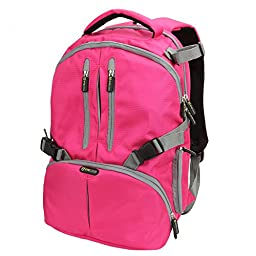 Laptop & Camera Backpack -Evecase DSLR Camera Backpack with Tablet/Laptop Compartment (Up to 14inch) & Rain Cover - Hot Pink