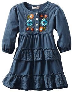 Mimi & Maggie Girls 2-6X Toddler Austin Lace Ruffled Knit Dress by Mimi & Maggie