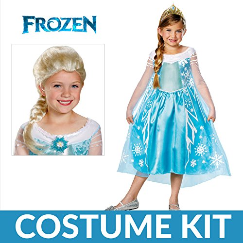 Girl's Frozen Elsa Deluxe Premium Costume Kit with Wig - Small