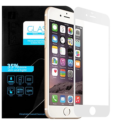 iPhone 6/6s Protection plein écran en Verre Trempé , EnGive Film de Protection d'écran en Verre Trempé Pour Apple iPhone 6/6s (Blanc)