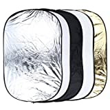 5 in 1 Portable Photography Studio Multi Photo Collapsible Light Reflector 60 x 90cm (24 x 36 inch) with Carrying Bag