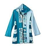 Women's Cheshire Blue Patchwork Zip Up Cotton Jacket