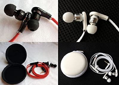 2PCS Black Red White Headphone Earphone Headset Plug for iphone 3 3G 4 4S 5 ipad ipod itouch 3.5mm In-Ear with Volume Remote Control & Mic with Extra Earbuds Case a Clipper