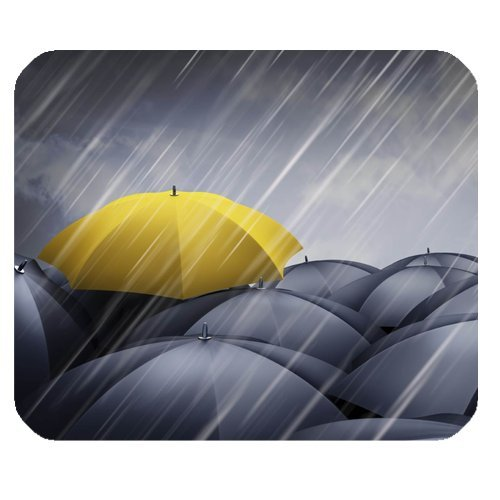 "Anhome Rainny Day Yellow Umbrella Stand Out Many Black Umbrella Mousepad 9.84""X7.87"" front-886746"