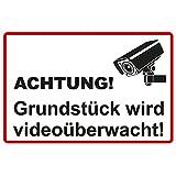 "Hinweisschild 300x200 mm ""Grundstück wird videoüberwacht"" , stabile Aluminiumverbundplatte 3mm stark"