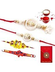 Ethnic Rakhi Designer Colorful Floral Pattern Fashionable And Stylish Bhaiya Bhabhi Mauli Thread And Beads Rakhi... - B01IIMBKN2