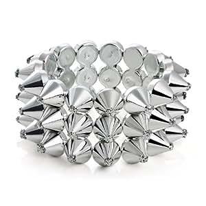 Charmed by Stacy 3 Row Spike Silver Bracelet (Stretch)