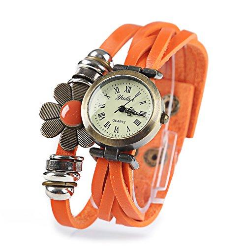 Dayan Flower Sense Retro Wrap Around Weave Leather Watch Bracelet Wrist Watch Wristband Orange