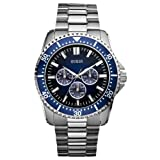 Guess Focus Men's Quartz Watch with Blue Dial Analogue Display and Silver Stainless Steel Strap W10245G1