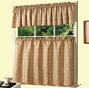 Buy Dainty Home Jeanette Kitchen Curtain Set Gold Online At Low Prices In India