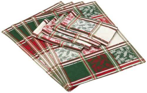 DII Boughs of Holly Jacquard Linens, Set of 8