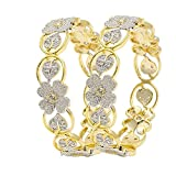 BELLA American Diamond Floral Shape Gold Plated Bangles For Women