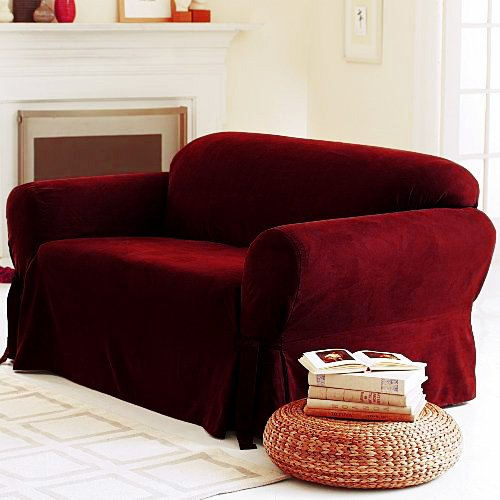 buy solid suede couch cover 3 pc slipcover set sofa