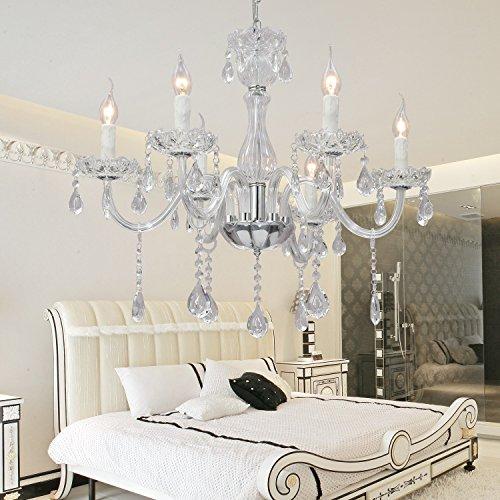OOFAY LIGHT® Elegante ed elegante salone lampada di cristallo in vetro con 6 camere lampadario di cristallo lampadario di cristallo lampadario di cristallo ristorante (bianco )