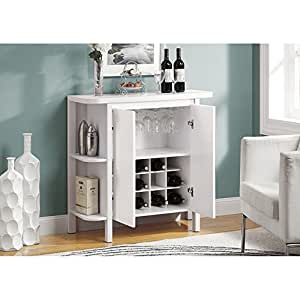 Monarch Bar Unit with Bottle and Glass Storage, 36-Inch, White