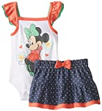Disney Baby-Girls  Minnie Mouse Short Sleeve Creeper with Skirt